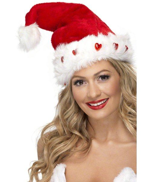 Light up miss santa mrs claus hat with fur ladies womens