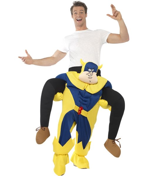 Bananaman Piggy Back Ride On Licensed 80s 1980s Adults Mens Fancy Dress Costume  sc 1 st  eBay : 80s fancy dress costumes  - Germanpascual.Com