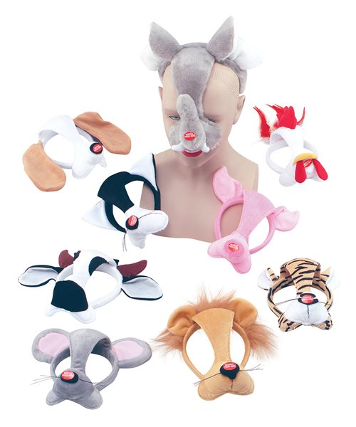MOUSE ANIMAL MASK ON HEADBAND /& SOUND boys girls childs fancy dress accessory