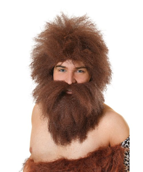 Caveman Costume Wig and Beard Adult Mens Halloween Fancy Dress