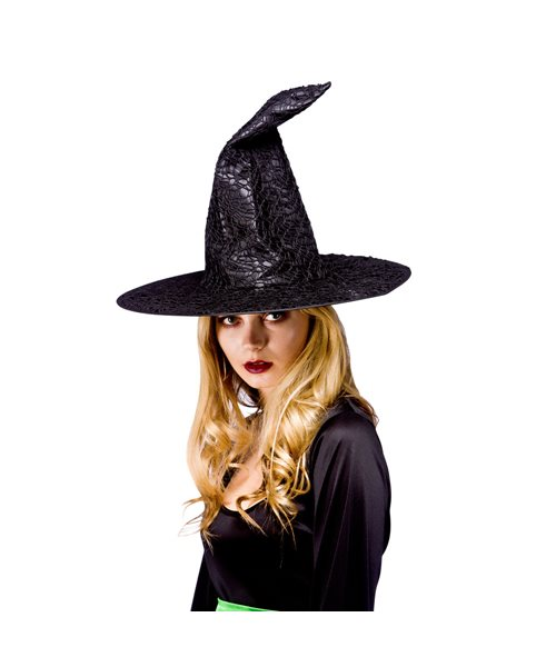 black satin mesh witch hat adults