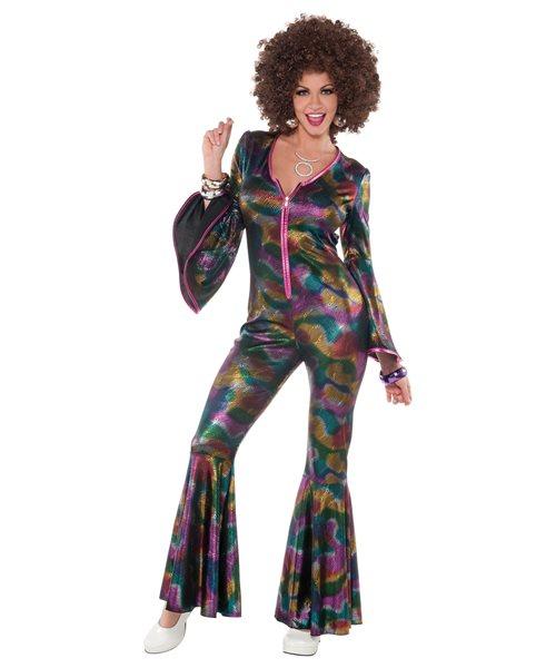 70 39 s disco diva catsuit flares multi uk 10 14 ladies womens fancy dress costume ebay - Diva pants ebay ...