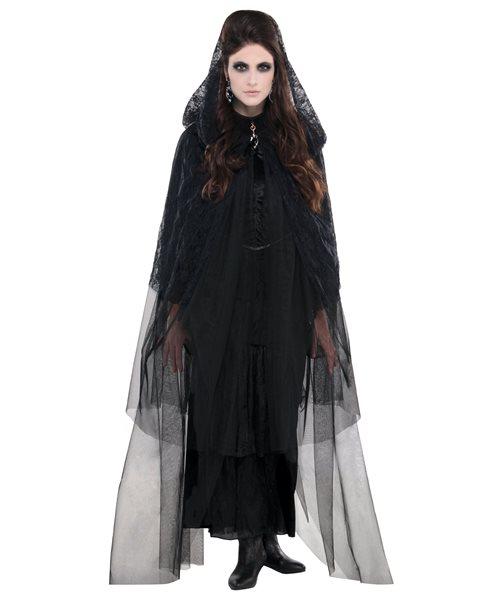 Black Lace Cape Romantic Tulle Gothic Halloween Womens Fancy Dress Costume