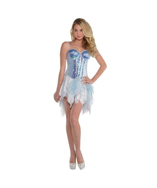 8ffd6a544f Sparkling Princess Elsa Frozen Corset Sexy Womens Fancy Dress Costume