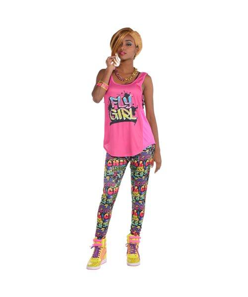 Hip Hop Tank Top 80/'s 90/'s T-Shirt Hen Party Adult Womens Fancy Dress Accessory