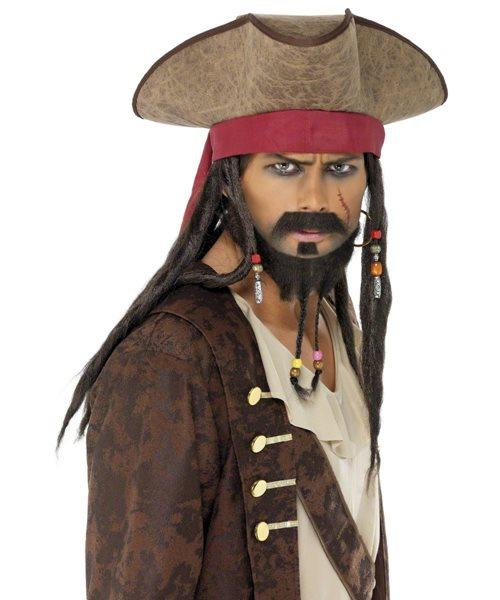 Black Pirate Beard Moustache Captain Jack Caribbean Party Fancy Dress Costume